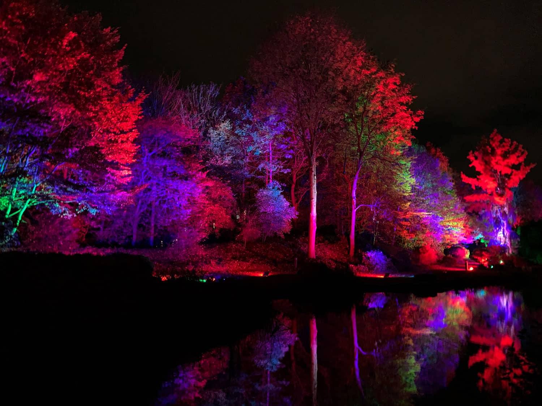 Illuminierter See beim Herbstleuchten im Maxipark Hamm
