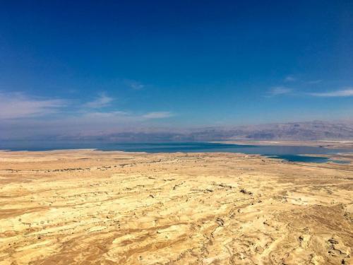 Blick von der Festung Masada aufs Tote Meer in Israel