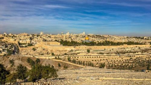 Blick vom Ölberg aus über Jerusalem, Israel