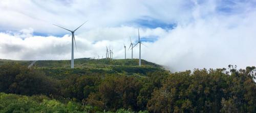 Da kommen Wolken auf die Windräder auf der Hochebene Paul da Serra auf Madeira zu.